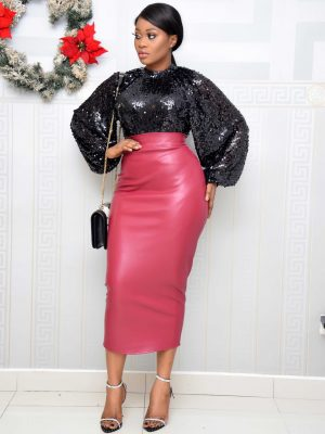 BURGUNDY LEATHER MIDI SKIRT
