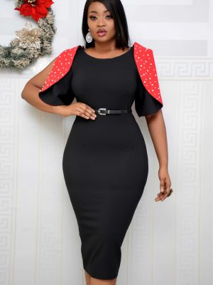 BLACK & RED STUDDED SLEEVE DRESS