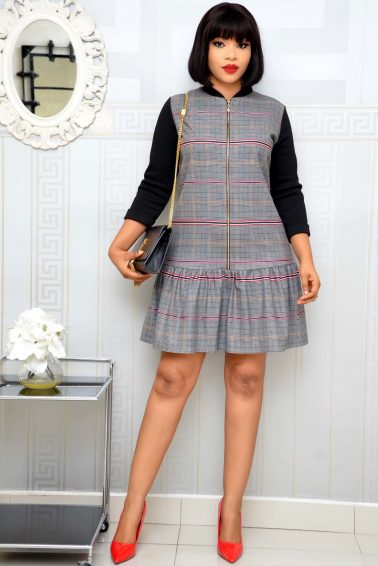 GREY CHECK SHIFT DRESS WITH FRONT ZIPPER