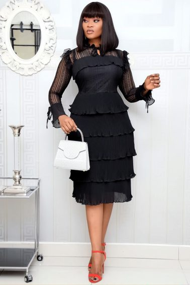 BLACK TINY PLEATS LAYER DRESS