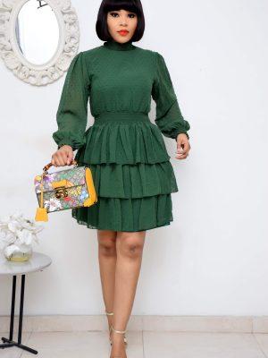 GREEN LAYER DRESS