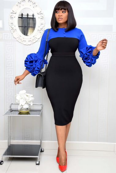 BLUE AND BLACK DRESS WITH BUTTON