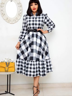 BLACK AND GREY CHECK SKATER DRESS