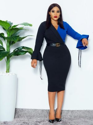 BLUE/BLACK LAPEL DRESS