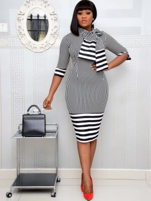 BLACK AND WHITE STRIPE PUSSY BOW DRESS