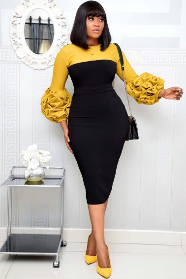 MUSTARD AND BLACK DRESS WITH BUTTON
