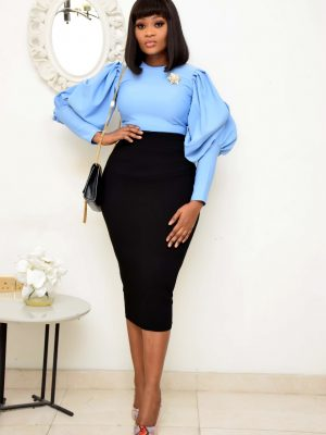 POWDER BLUE PUFFY SLEEVE TOP