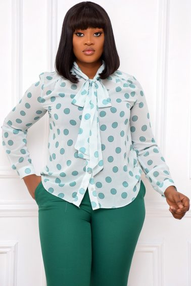 MINT GREEN POKA DOT TOP WITH BOW & INNER