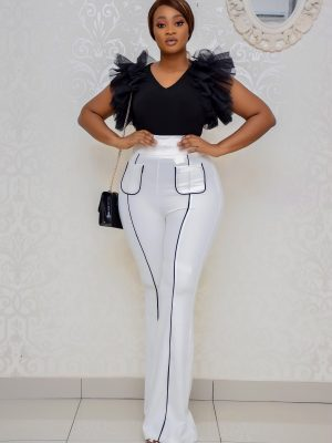 WHITE PALLAZO PANT WITH POCKETS