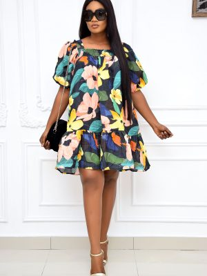 BLACK FLORAL DRESS WITH PUFFY SLEEVES