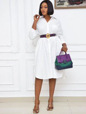 WHITE SHIRT DRESS WITH FRONT POCKET