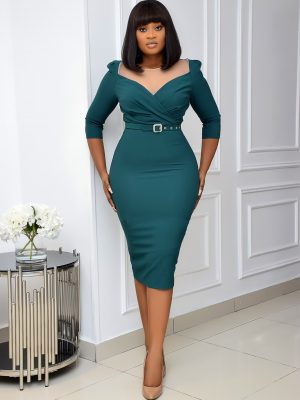 GREEN BELTED MIDI DRESS WITH MESH