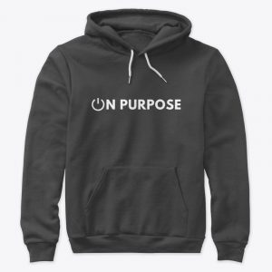 dark gray hoodie with on purpose logo