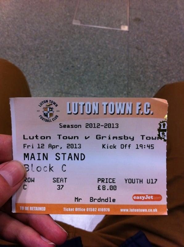 Das Ticket fürs Spiel (Preis 8£)