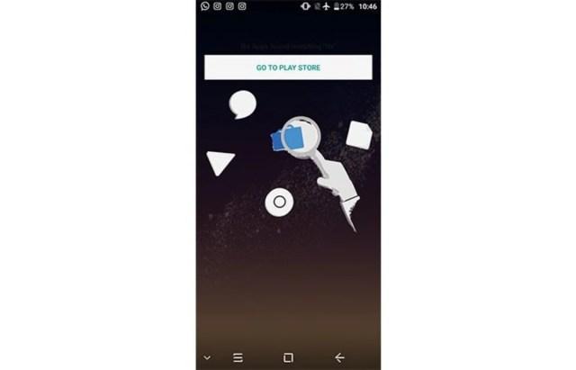 """La busca de apps no está adecuadamente implementada. Si no halla la app, aparece éste """"dibujo"""""""