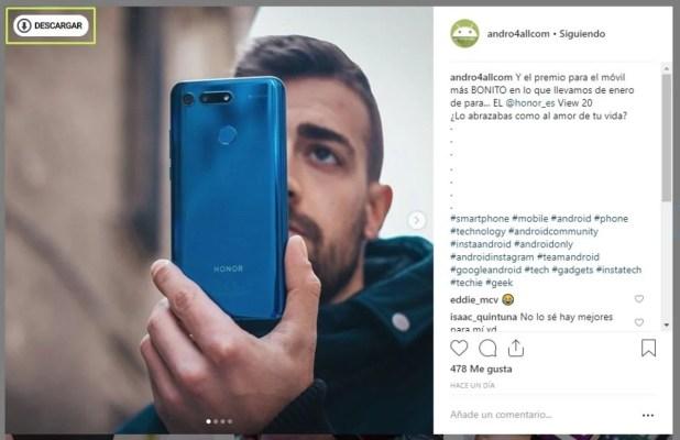 Descargar fotos de Instagram en el ordenador