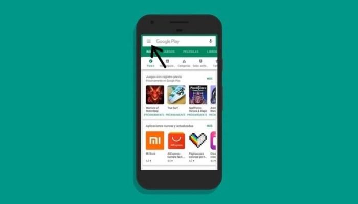 Interfaz de Play Store