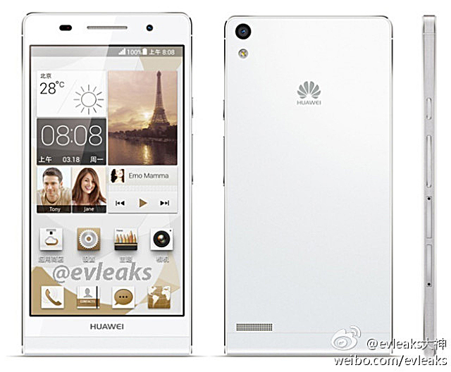 Huawei Ascend P6 de color blanco