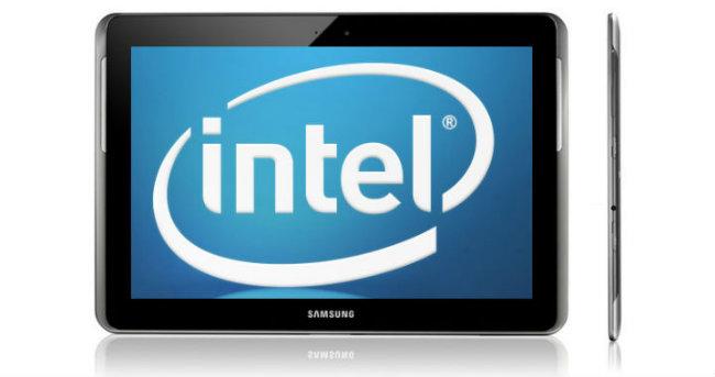 Samsung Galaxy Tab tres 10.1 con logotipo de Intel