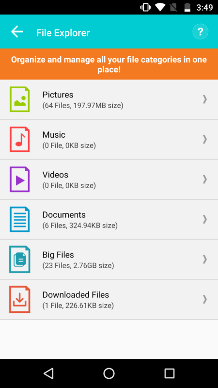 Systweak Android Cleaner File Explorer
