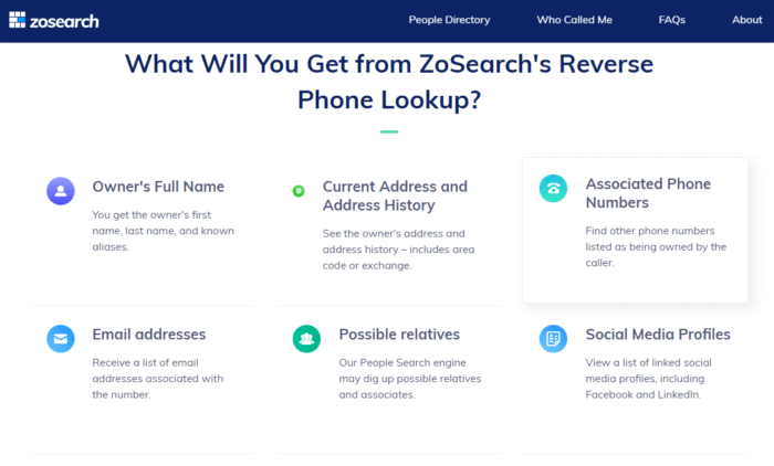 Zosearch Free Reverse Phone Lookup