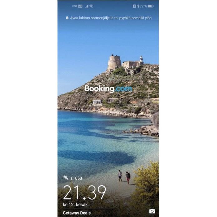 Booking com ad Huawei lockscreen
