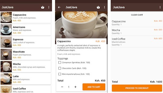 A mock Android application for a coffee shop