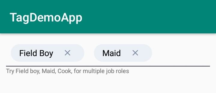 Android TagsEditText View for text view with tags