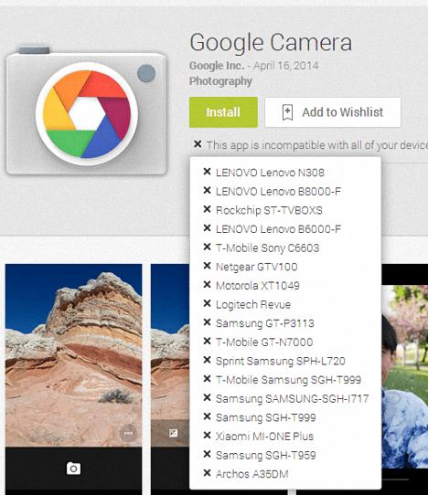 Camara de Google para Android 4.4