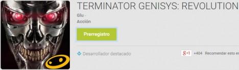 Prerregistro para el juego Terminator GenisSys