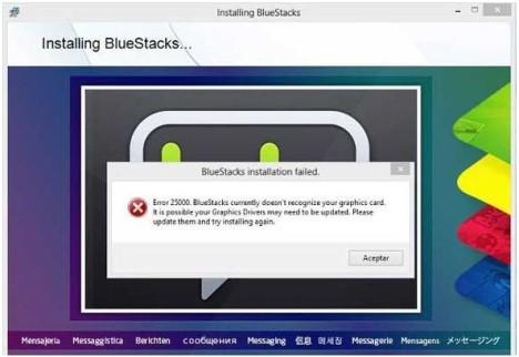 Solucionar Error 25000 para instalar Bluestacks en Windows