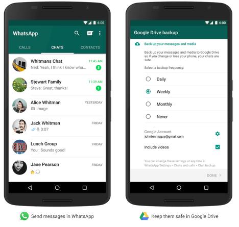 mensajes de WhatsApp en Google Drive