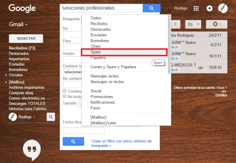 Spam en Gmail