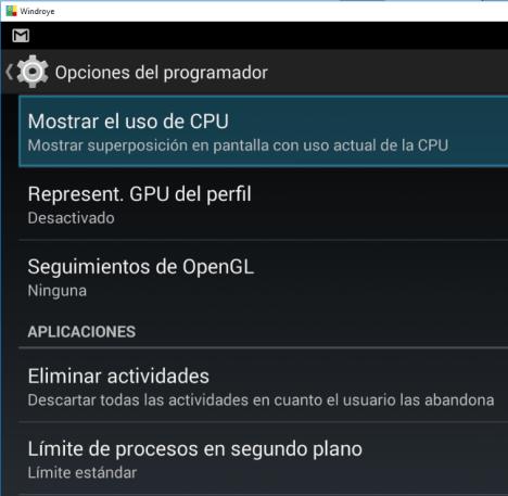 Opciones de Desarrollador - Mostrar Uso de CPU
