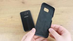 Tapa de vuero para Galaxy S7 Edge