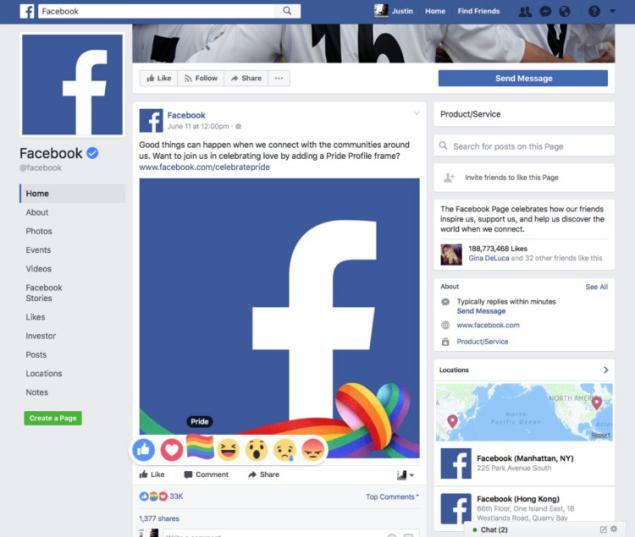 Reacciones de Facebook LGBTQ