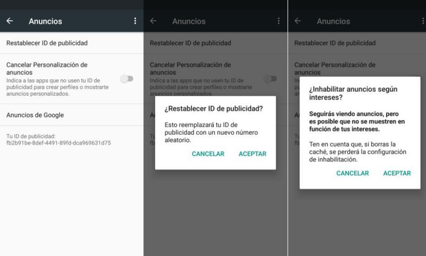 Reset ID de publicidad personalizada en Android