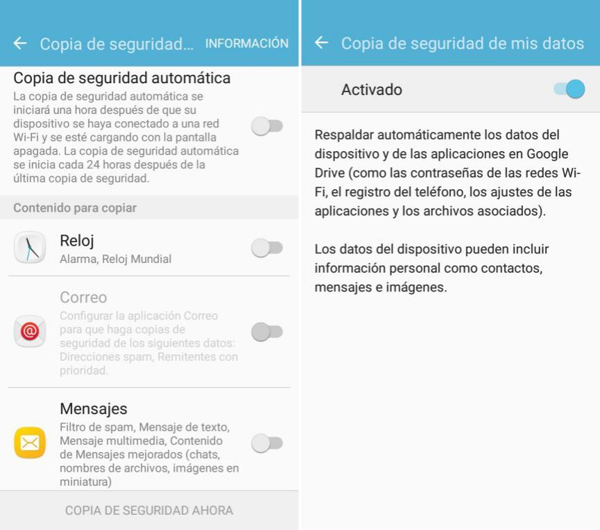 copia de seguridad de Datos Android