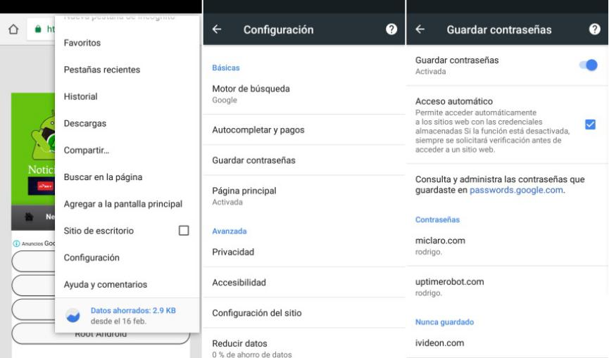 guardar contraseñas en Google Chrome Android