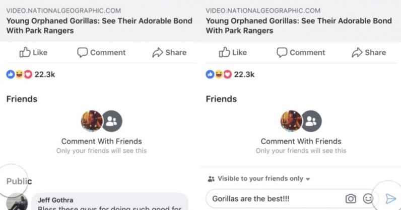 privacidad comentarios Facebook Android