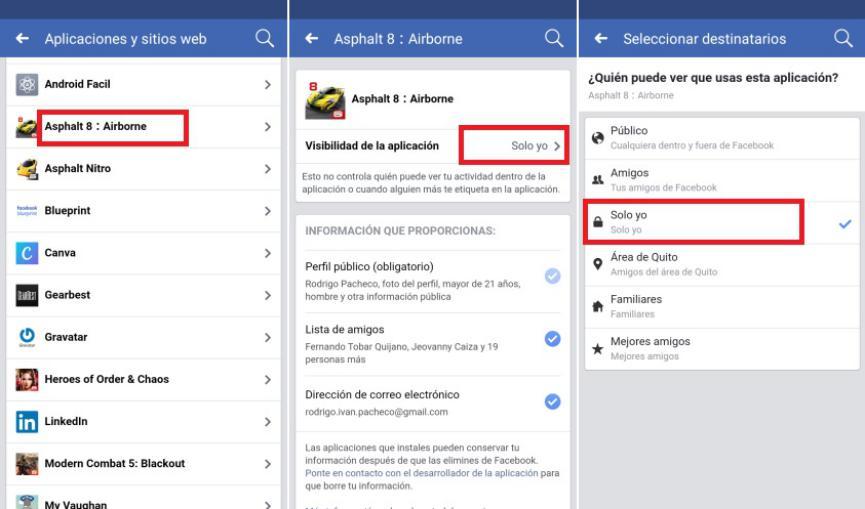 restringir publicaciones de Aplicaciones de Facebook