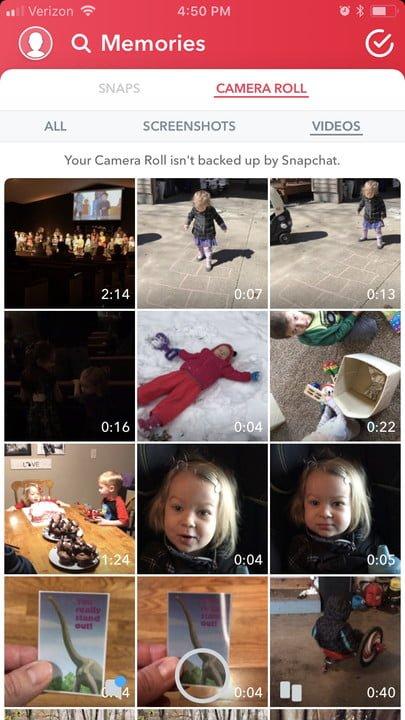 compartir fotos de la galeria en snapchat android