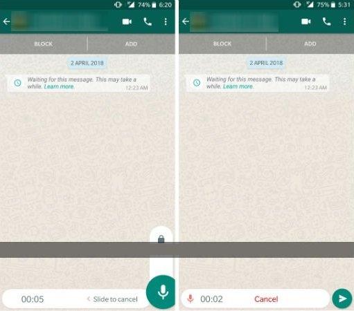 hacer grabaciones largas de voz en WhatsApp Android