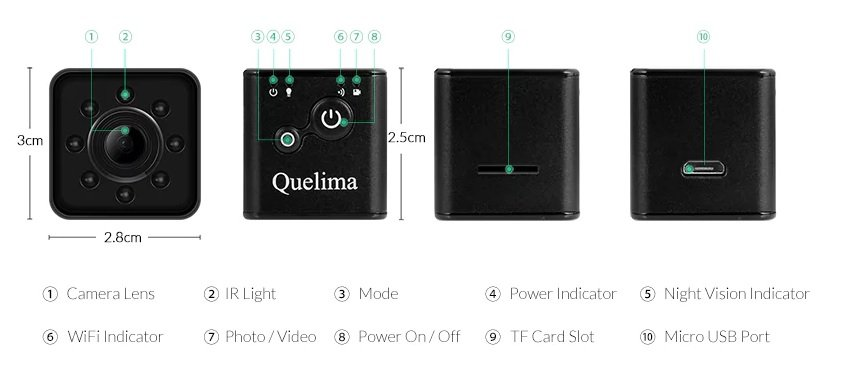 Quelima SQ13 gadget para android grabar video estables
