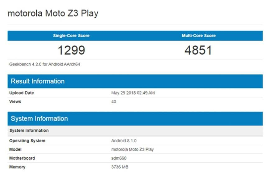 rumor Moto Z3 Play especificaciones