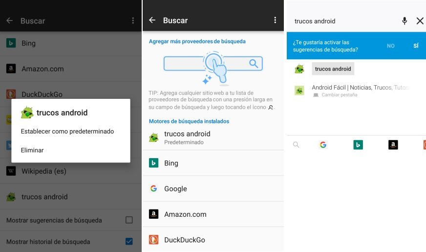 Configurar Motores de Busqueda en Android