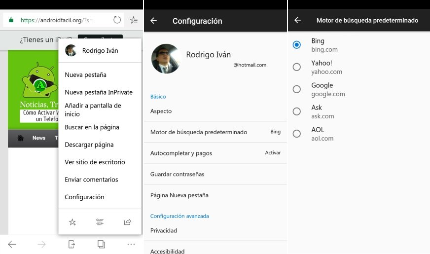 Configurar motores de busqueda en Android microsoft Edge
