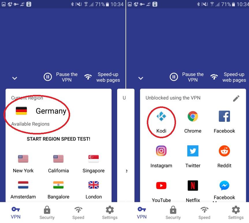 Kodi Android con VPN Android