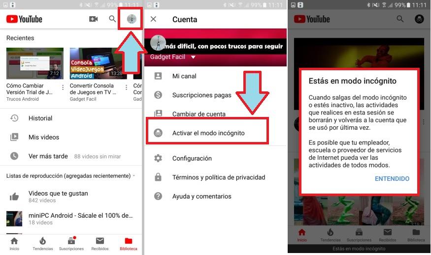 navegar anónimamente por youtube Android