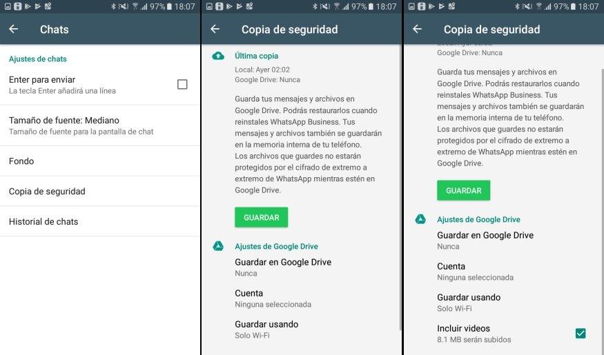 copia de seguridad WhatsApp Android